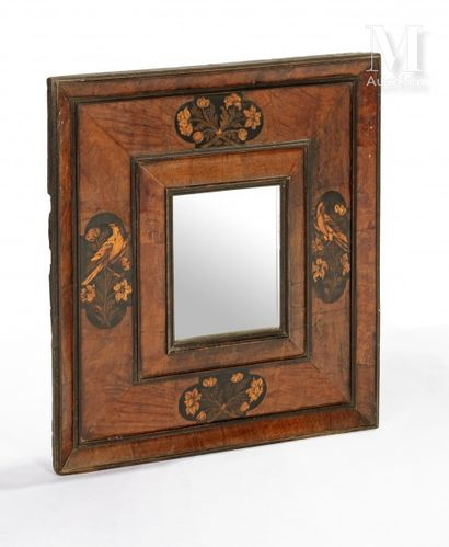 Rectangular Huguenot mirror with inlaid decoration of flowers and birds on a black...