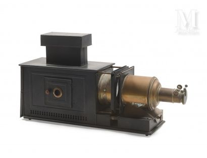 Magic or projection lantern in black lacquered sheet metal and brass  H : 46, W...