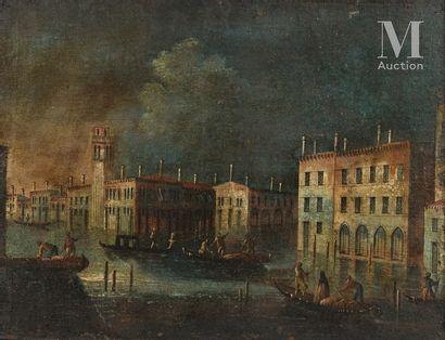 *Ecole VENITIENNE du XVIIIème siècle L'Aqua alta  Toile marouflée sur carton  51...