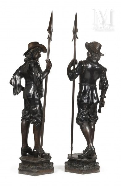 Two Flemish guards, standing, that can form a pair  Black lacquered metal  H : 220...