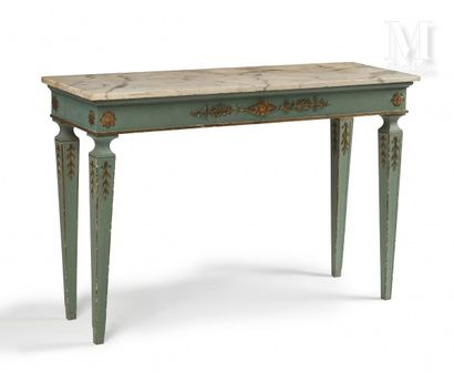 Rectangular wall console in carved wood and almond green lacquer, the belt decorated...