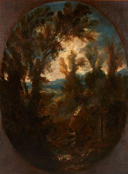 Antonio Francesco PERUZZINI (Ancone 1643 – Milan 1724)  Paysages aux moines  Paire...