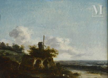 *Louis Gabriel MOREAU, dit l'Ainé (Paris 1740 - 1806) Paysage au moulin  Panneau...