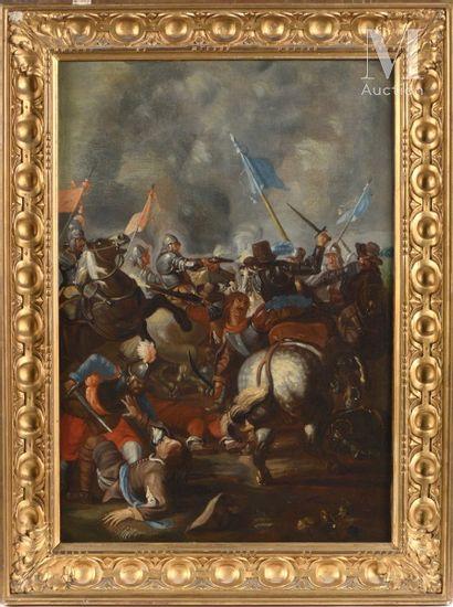 Ecole ROMAINE du XVIIème siècle, entourage de Jacques COURTOIS Cavalry fight around...