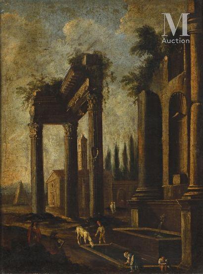 Ecole ROMAINE du XVIIème siècle, entourage de Giovanni GHISOLFI Personnages dans...