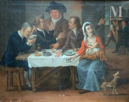 Ecole d'ITALIE du NORD vers 1790 English travellers at the inn  Original canvas  54...