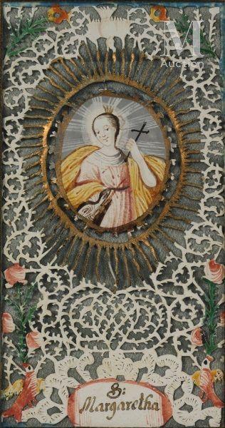 Canivet de forme rectangulaire orné de sainte...