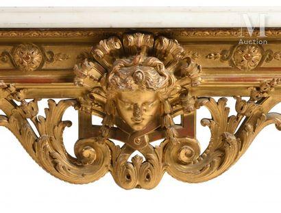 Importante table-console d'applique de forme rectangulaire en bois sculpté et doré,...