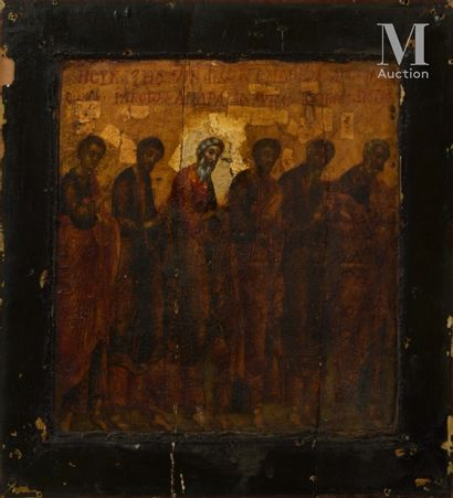ECOLE GRECQUE DU XIXÈME SIÈCLE Reunions of Saints  Pair of panels  19,5 x 18,5 cm...