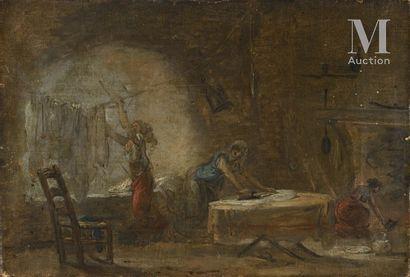 *Ecole FRANCAISE vers 1780, entourage d'Hubert ROBERT Les repasseuses  Toile et châssis...