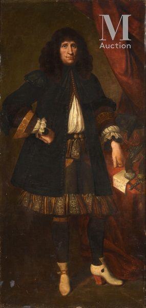 17th century GENOISE school  Portrait of Don Bartolomeo  Canvas  195 x 94 cm  Inscribed...