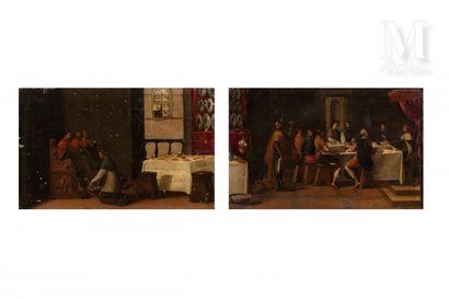 Ecole FLORENTINE du XVIème siècle, suiveur de EMPOLI  Le banquet de Saint Luis  Prêtre...
