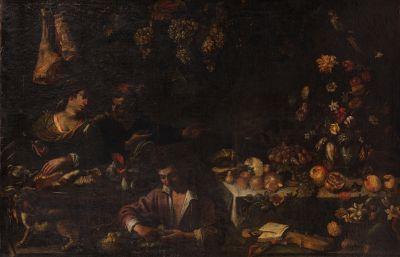 Attribué à GIACOMO LEGI (actif vers 1640-45)  Nature morte de fleurs, fruits, avec...