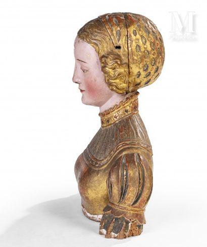 Buste de sainte-femme formant reliquaire  Sculpture en bois polychrome figurant...