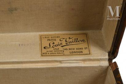 Louis VUITTON  Cabin trunk in monogrammed canvas, leather edges, wood reinforcements,...