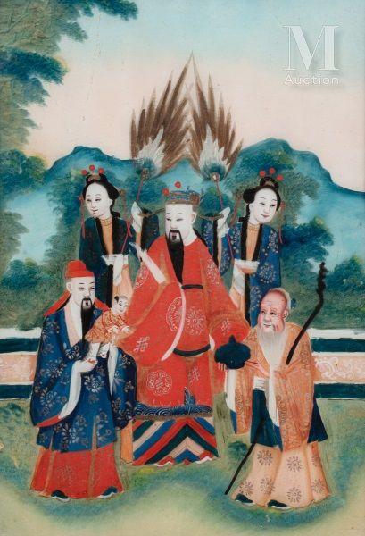 CHINE  L'Empereur assis dans un jardin, entouré...