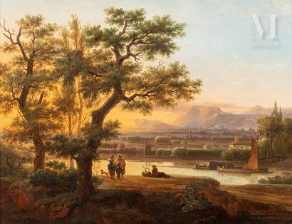 Ecole HOLLANDAISE de la fin du XVIIIème siècle, suiveur de Isaac de MOUCHERON Landscape...
