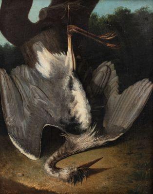 Ecole ITALIENNE du NORD du XVIIIème siècle  Nature morte au héron  Sur sa toile...