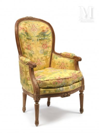 Moulded and carved wood shepherd's chair with a ribbon knot on the upper part of...