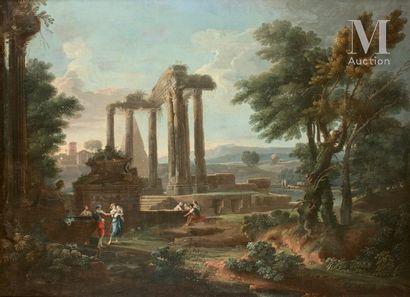 Roman school around 1760, entourage of Charles - Louis CLERISSEAU  Landscape with...