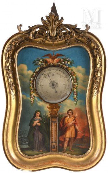Ensemble comprenant une pendule et un baromètre-thermomètre...