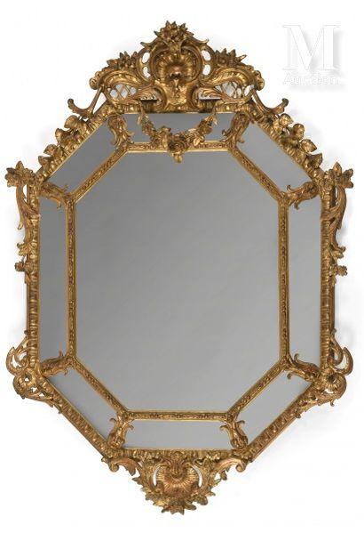 Miroir de forme octogonale, à parcloses,...