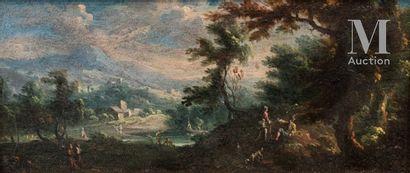 Ecole PIEMONTAISE du XVIIIème siècle, entourage de Vittorio Amedeo CIGNAROLI  Paysage...