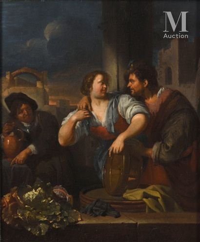 Jacob TOORENVLIET(Leiden 1640 - Oegstgeest 1719)  The surprised merchant  Canvas...