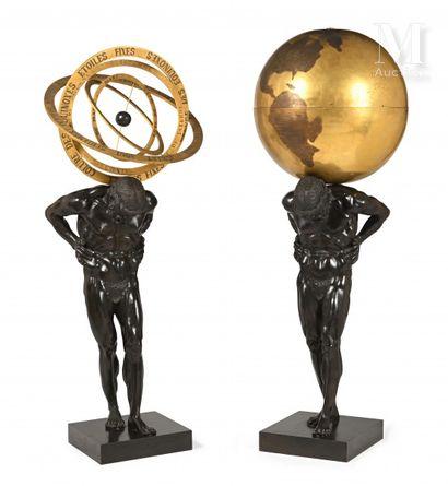 Paire de figures d'Atlas en bronze à patine...