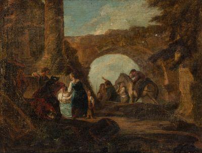 Attribué à Francesco CASANOVA  (1727-1802)  Personnages dans des ruines  Toile  49...
