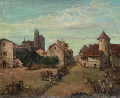 Ecole FRANCAISE vers 1800  Vue de village...