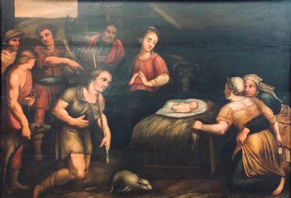Ecole Flamande du XVIIIème siècle  L'adoration...