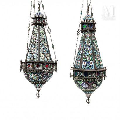 Paire de lampes émaillées de Damas