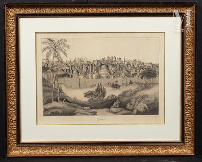 Jules HEUDEBERT (Actif au XIX ème siècle) Vue de Jérusalem  Trait de plume, encre...