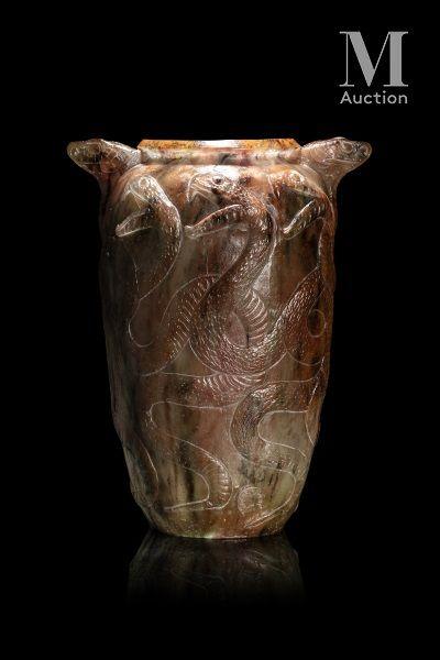 François Emile DECORCHEMONT (1880 - 1971) Grand vase vipères  Exceptionnel vase ovoïde...