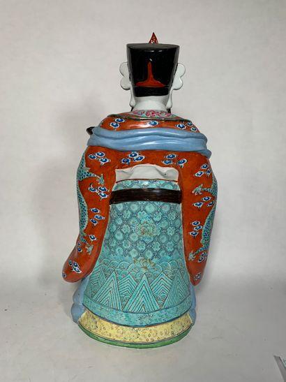 CHINE, Epoque Moderne Statue en porcelaine  figurant le Dieu Luxing.    Hauteur :...