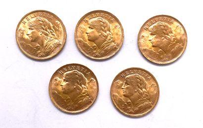 Helvétique  Lot de cinq monnaies de 20 Francs...