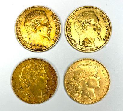 France – Divers  Lot de quatre monnaies de...