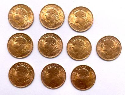 Helvétique  Lot de dix monnaies de 20 Francs...