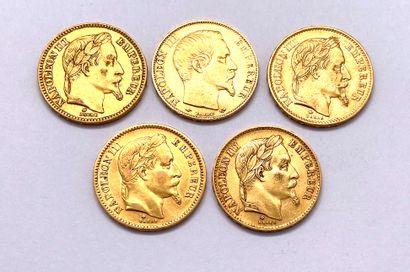 France - Napoléon III  Lot de cinq monnaies...