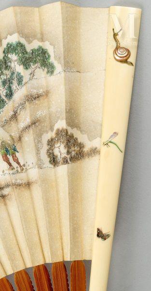 Paysages, Japon, XIXe siècle Paysages, Japon, XIXe siècle  Grand éventail plié, la...