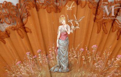 Les colombes, vers 1890-1900 Les colombes, vers 1890-1900  Éventail plié, la feuille...