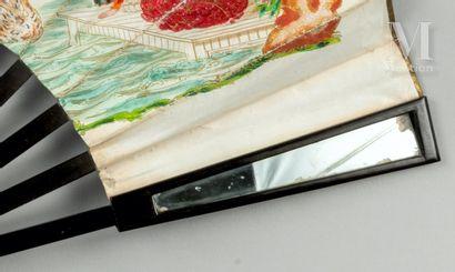 Miroirs, vers 1840 Miroirs, vers 1840  Éventail plié, la feuille double en papier...