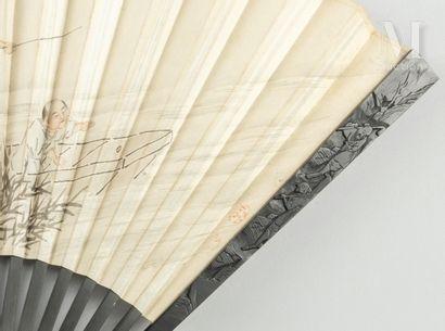 Le pêcheur et l'enfant, Chine, XIXe siècle Éventail plié, la feuille double en papier...