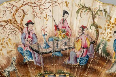 Musique au jardin, vers 1780-1790 Musique au jardin, vers 1780-1790  Éventail plié,...