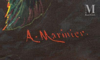 A.Marinier, La danse des scarabées, vers 1890 Feuille d'éventail en soie teintée...