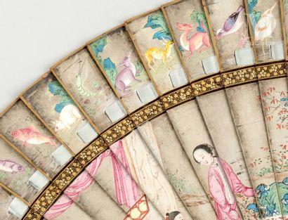 Combat, Chine, vers 1840 Combat, Chine, vers 1840  Éventail de type brisé en bambou...