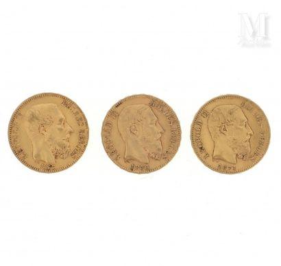 Trois pièces 20 francs Belgique or