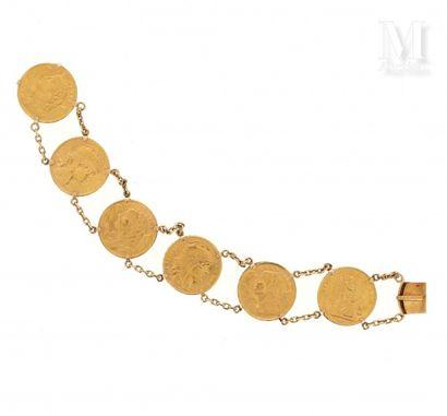 Bracelets pièces 20 francs or