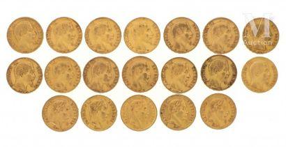 19 pièces 20 FF or